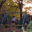 晩秋の森林公園(本一色)で遊ぶ子供達